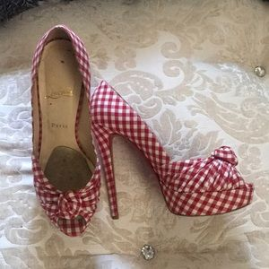 Authentic Louboutin Greissimo Gingham Plaid heels